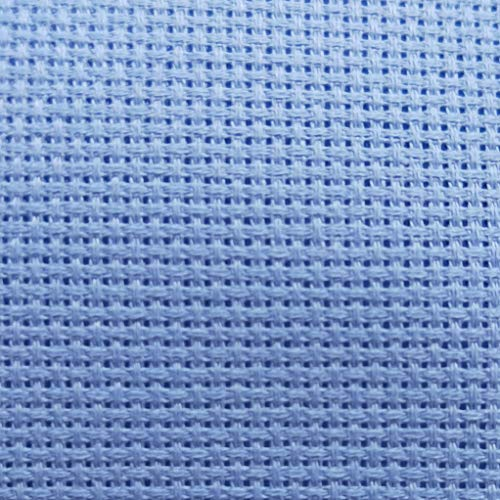 "12"" x 59"" 14CT Counted Cotton Aida Cloth Cross Stitch Fabric (Light Blue)"