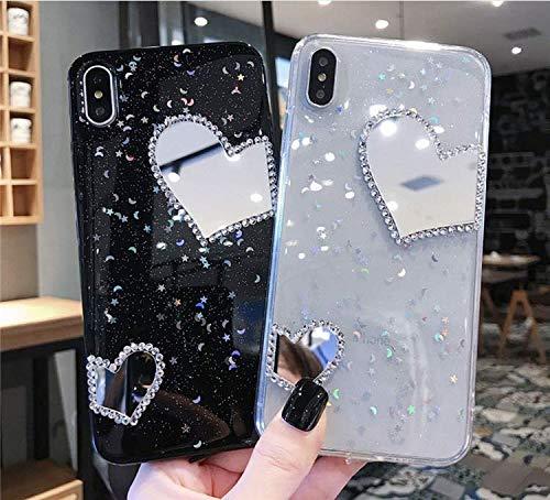 Hnzxy Handyhülle Kompatibel mit Huawei Nova 3 Hülle Spiegel Glänzend Glitzer Kristall Strass Diamant Liebe TPU Silikon Handy Hülle Durchsichtige Schutzhülle Case Tasche Etui für Huawei Nova 3, Schwarz - 3
