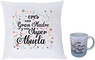 MISORPRESA Pack COJIN Y Taza con Mensaje Eres una Gran Madre y una Super Abuela Regalo Mama Regalo Abuelas