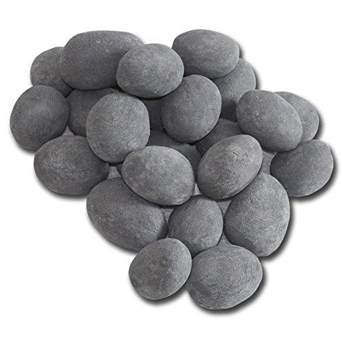 Keramik-Steine Set 24-teilig grau Bioethanol-Kamin Gel-Kamin Tischfeuer Dekosteine Steinimitat Ziersteine