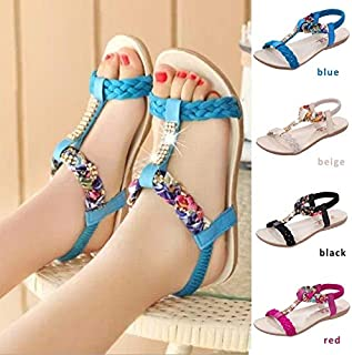 Sandals for Women Brief Comfortable Flat Heel Rhinestone Flat Open Toe Women Elastic Strap Women Sandals(Blue,9)
