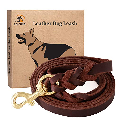 """Fairwin Braided Leather Dog Training Leash 6 Foot - 5.6 Foot Military Grade Heavy Duty Dog Leash for Large Medium Small Dogs ( M:5/8"""" x5.6ft, Brown) 004"""