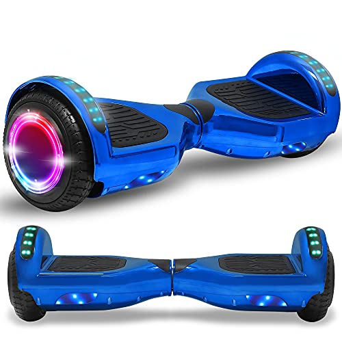 Newest Generation Electric Hoverboard Dual Motors Two Wheels Hoover Board Smart Self Balancing Scooter with Built-in Bluetooth Speaker LED Lights for Adults Kids Gift (Chrome Royal Blue)