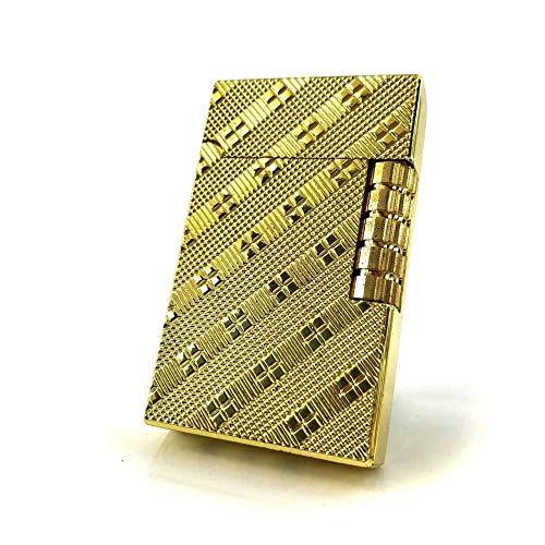 【C41】Chequered/チェカード フリントガスライター ゴールド/金 DELOOVAブランド・保障カード付 高級感のあるチェック柄 横回し式