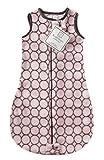 SwaddleDesigns Sleeping Sack with 2-Way Zipper, Cozy Micro Fleece Brown Mod Circles on Pastel Pink, 6-12MO
