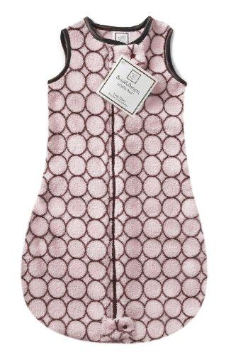 SwaddleDesigns - Saco de Dormir de Microfibra con Cremallera de 2 vías, diseño de círculos de Color marrón sobre Rosa Pastel 12-18MO