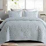 Exclusivo Mezcla Microfiber Queen Size Quilt Set for All Seasons, 3 Piece Flower Pattern Bedspread/Coverlet/Bedding Set with 2 Shams, Lightweight and Soft, (96'x92', Light Blue)