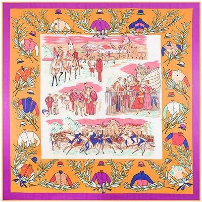 YDMZMS 100% Soie sergé Marque écharpe en Soie pour Les Femmes, Nouvelle Mode Grand carré Foulards Bandeau Royal Ascot Olive Branche Impression châle Hijab 4