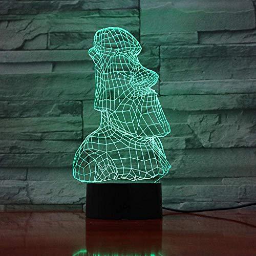 Lámpara de ilusión 3D Luz de noche LED Acrílico Isla de Pascua Escultura de piedra 7 Cambio de color Imitación de la antigua Roma Retrato Decoración Los mejores regalos de vacaciones de cumpleaño