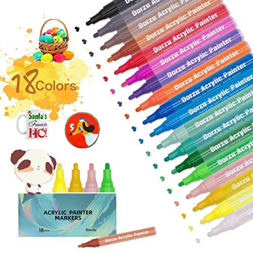 Rotuladores acrílicos, 18 colores, resistentes al agua, permanentes, para manualidades, piedra, lienzo, papel, pintura de vidrio, metal