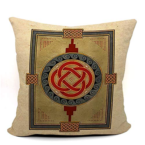 Mancheng-zi Celtic Knot Throw Pillow Case, Kells Celtic Decor, Celtic Gift, Wedding Gift, Housewarming Gift, Celtic Art, 18 x 18 Inch Linen Kells Celtic Art Cushion Cover for Sofa Couch Bed 03