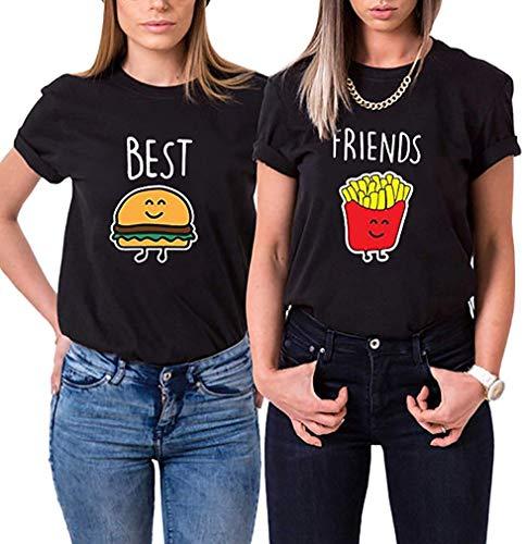Best Friends Damen T-Shirt BFF Beste Freunde Burger und Pommes (Schwarz, Pommes XS)