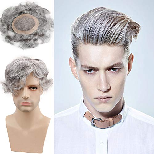 Rossy&Nancy Men's Toupee European Human Hair Replacement Wigs Mono Lace with PU Around 6inchx8inch Base Size for Man 20% 1B Black Hair Mixed 80% Grey Color
