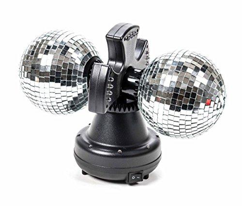 Doppel Discokugel, Spiegelkugel, Leuchte, 2Spiegel-Kugel rotierend, Ein-Aus-Schalter, 32bunteLEDs, 6W