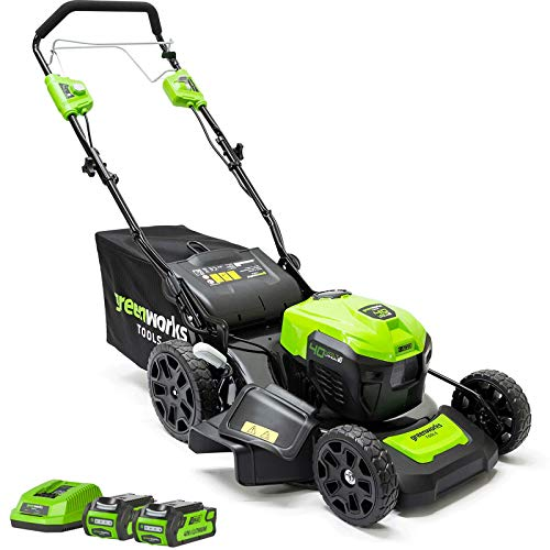Greenworks GD40LM46SPK2x 40V Greenworks Self Proppelled Lawnmower 46cm (Complete with 2x 2Ah Batteries and Charger), 40 V, Green