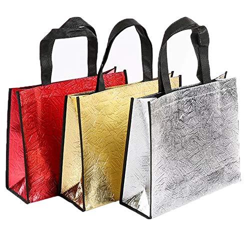 Bolsas de no Tejido, 9 Piezas Bolsa Promocional, Bolsas de Comestibles Brillantes para Bolsa de Golosinas, Compras, Fiestas, Almacenamiento de Desorden (12,6 x 4,72 x 15,75 Pulgadas)