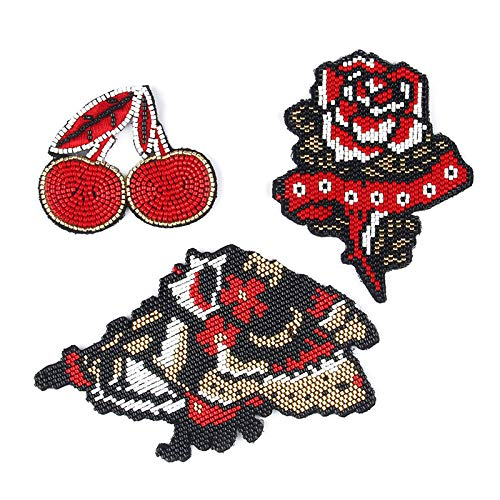 Iron on Patches/Sewing Patch,Patches for Clothes,Embroidery Applique,3pcs Flower Cherry Sequin Style