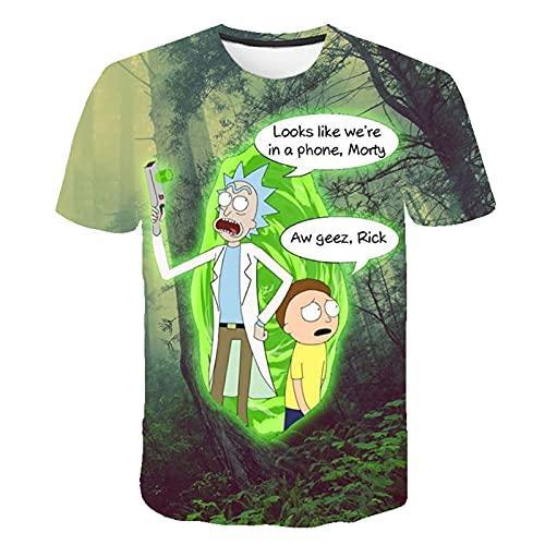 Rick y Morty Camisa para Adultos Hombres y Mujeres Verano Transpirable Moda Cuello Redondo Camiseta de Manga Corta Tops,H,M