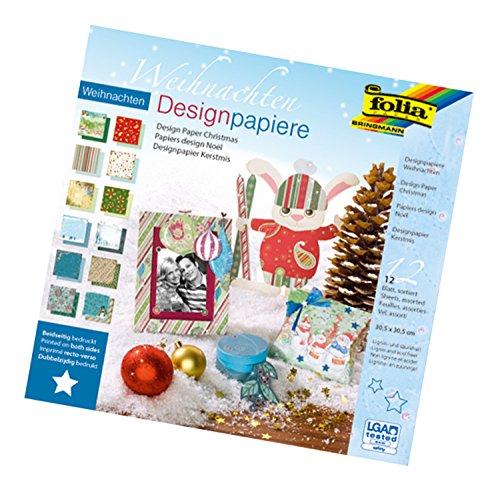 folia 10549 - Designpapier Block Weihnachten, ca. 30,5 x 30,5 cm, 190 g/qm, 12 Blatt sortiert in 12 verschiedenen Motiven, beidseitig bedrucktes hochwertig illustriertes Papier