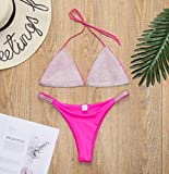 WQZYY&ASDCD Traje De Baño Bikinis Mujeres Sexy Lentejuelas Rhinestone Crystal Bikini Set Sujetador Push-Up Traje De Baño De Cintura Alta Traje De Baño-Rosa_M
