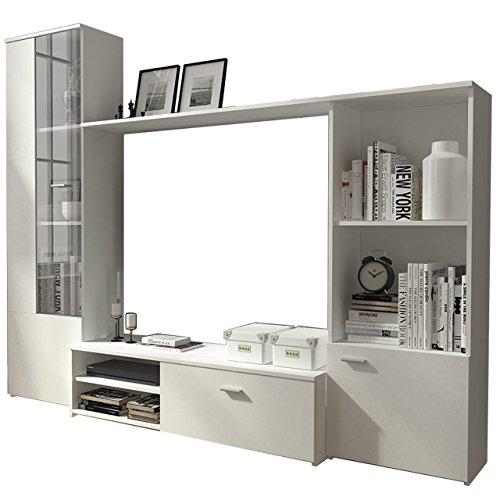 Wohnwand Anbauwand Martin, Schrankwand, Fernsehwand, TV Lowboard, Vitrine, Mediawand, Wohnzimmerschrank (Weiß)
