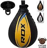 RDX Cuir De Vachette Boxe Poire De Vitesse Frappe Entrainement MMA Speed Bag Muay Thai Punching Ball et Pivotant Rotule Plafond - Jaune