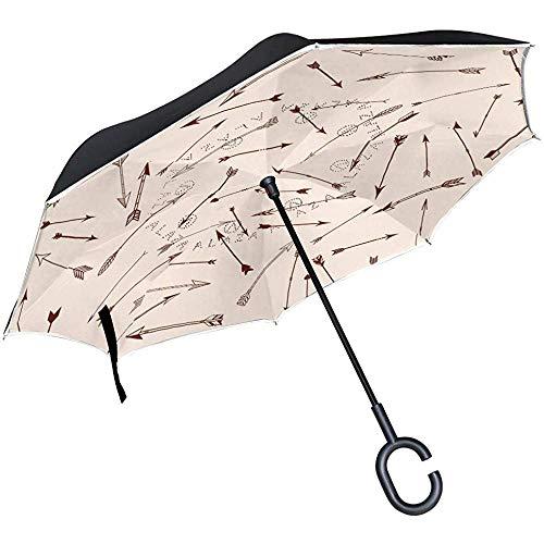 Ethnische Pfeile Invertiert Regenschirm Reverse Auto Open Double Layer Winddicht Uv-Schutz Auf Den Kopf Regenschirm Für Auto Regen Im Freien