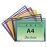 TARIFOLD Es 340009- Pack de 5 fundas Bolsas para colgar A4 horizontal con fuelle (gran capacidad: documentos, manuales, herramientas) 2 anillas metálicas - PVC - marco colores surtidos