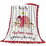 Edwiinsa This is My Favorite Christmas Movie Watching Blanket 40'' x 50'', Sloth Animal and Snowflake Fleece Blanket Lightweight Super Soft Bed Blankets All Season for Couch/Sofa/Gift