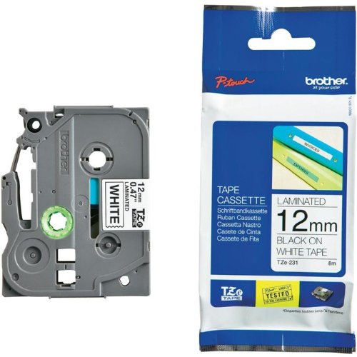 Beschriftungsband TZFX231 für Brother P-touch, Schwarz auf Weiss, 12 mm, Schriftband TZ-FX231, TZe-FX231, TZeFX231, 12mm breit, 8mtr.