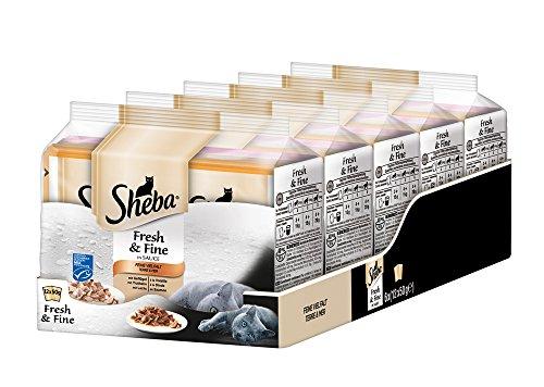 Sheba Katzenfutter Fresh & Fine für ausgewachsene Katzen - hochwertiges Nassfutter für Katzen / Feine Vielfalt in Sauce (MSC) / 72 Portionsbeutel (6 x 12 x 50 g)