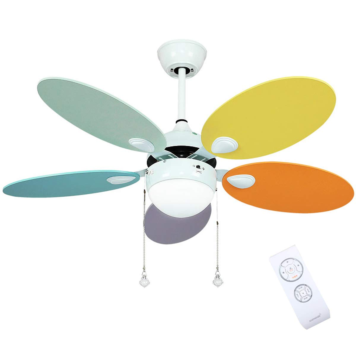 Lxn 42 107cm Modern White Metal Ceiling Fan Light For Living Room Bedroom With 5 Multi Coloured Reversible Blades And Glass Light Shade Three Speed Wind Led Light And Remote Control Buy Online In