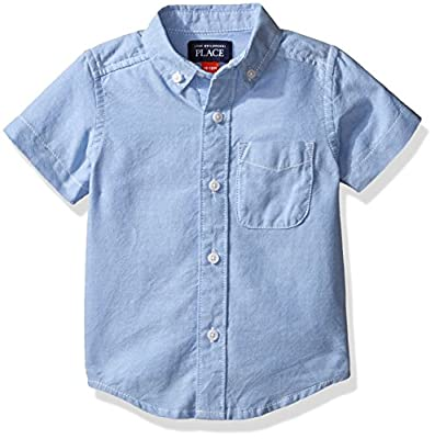 The Children's Place Baby Boys' Short Sleeve Uniform Oxford Shirt, LTBLUOXFRD 4764, 18-24 Months