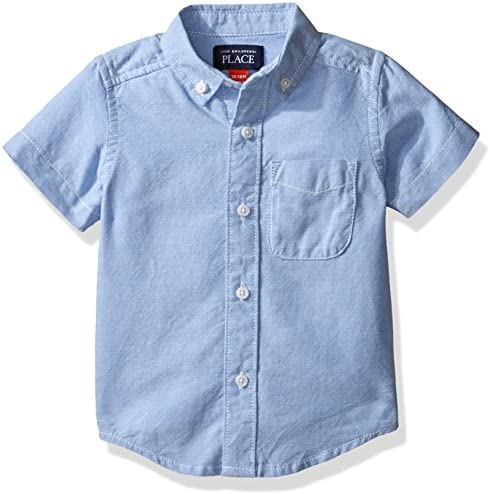 The Children s Place boys Short Sleeve Oxford School Uniform Button Down Shirt Ltbluoxfrd 4764 product image