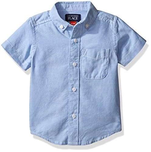 The Children's Place Baby Boys' Toddler Short Sleeve Uniform Oxford Shirt, LTBLUOXFRD 4764, 4T