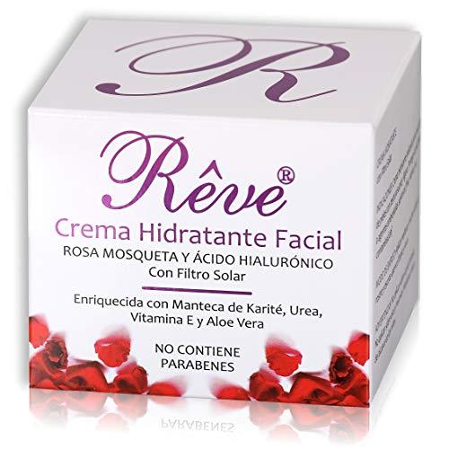 REVE Crema Hidratante Facial con Rosa Mosqueta - Vitamina E - Ácido Hialurónico - FPS15 - Regeneradora Celular - Hombre y Mujer, Día y Noche - Cosmética de Calidad sin parabenes - 50 ml