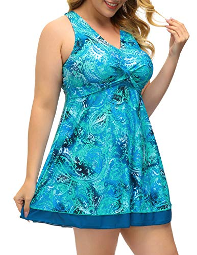 Womens Tummy Control Swimdress Tankini Set Floral Swimsuit with Boyshort Blue 24W