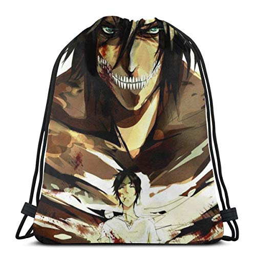 WH-CLA Drawstring Backpack Attack-On-Titan Eren 33 Wrapping Gift Bag Gym Drawstring Backpacks Sport Favor Bags Lightweight Party Print Durable Drawstring Bag Storage Goodie Bags Anime Cin