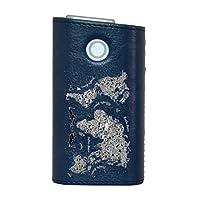 glo グロー グロウ 専用 レザーケース レザーカバー タバコ ケース カバー 合皮 ハードケース カバー 収納 デザイン 革 皮 BLUE ブルー 世界地図 レトロ 014130