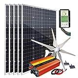 1000 Watt 12 Volt Wind Solar Kit with 400W Wind Turbine Generator + 600W Monocrystalline Solar Panel + Hybrid Charge Controller +...