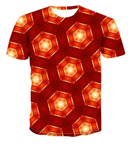 Heren 3D Printed Tops Tees Trend T-shirt met korte mouwen Grappige Jongens Mannen T-shirt met korte mouwen Top Tee Blouse Rood Geometrische Zeshoeken Hawaiian Beach T-Shirts