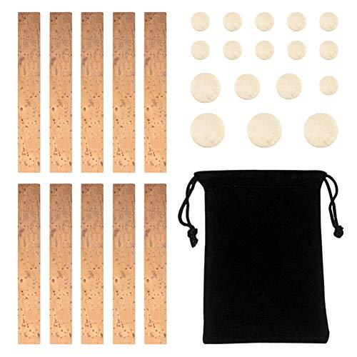 Novelfun - Juego de accesorios de reparación para clarinete de 27 piezas con 10 piezas de láminas de corcho para juntas de cuello y 17 almohadillas para clarinete