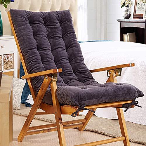 Ginrly Gartenstuhlbezug Sitzkissen Liegekissen Stuhlkissen Terrassensessel Liegestuhl Sitz mit hoher Rückenlehne Sitzkissen-150x48x10cm Grau