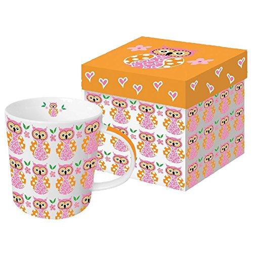 Taza grande con diseño de búhos, color rosa y naranja – Taza grande para café, té y chocolate caliente en caja de regalo a juego