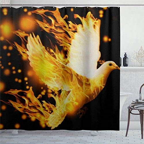 EricauBird Duschvorhang Fliegende Taube Feuer Hintergr& Duschvorhang mit Ringen Polyestergewebe Duschvorhänge mit Haken Bad Badezimmer Dekor