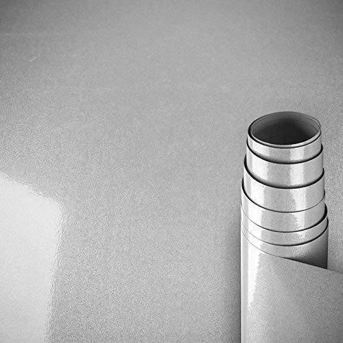 AWNIC Vinilo Papel Adhesivo para Muebles Gris Perla/Elegante/Muebles Pegatinas Impermeable a Prueba de Aceite para el Forro de los Muebles/Armario Mesa Baño Cocina Decoración 300x40cm