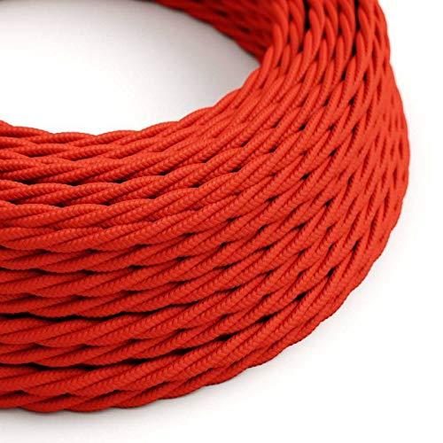 creative cables Fil Électrique Torsadé Gaine De Tissu De Couleur Effet Soie Tissu Uni Rouge TM09-50 mètres, 2x0.75