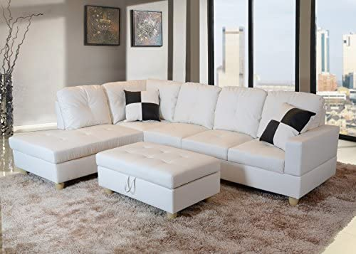 Best Beverly Fine Funiture Sectional Sofa Set, 92A White