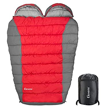 Double Sleeping Bag with Compression Sack, Lightweight Mummy Bags for Adult Camping, Backpacking, Hiking, Traveling and Outdoor Activities (Red)