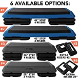 Aerobic Exercise Step Platform by Day 1 Fitness - 28in x 14in CIRCUIT SIZE STEP with 4 RISERS - Non-Slip and Shock Absorbing Surface - Premium Gym Equipment and Accessories For Home, Adjustable